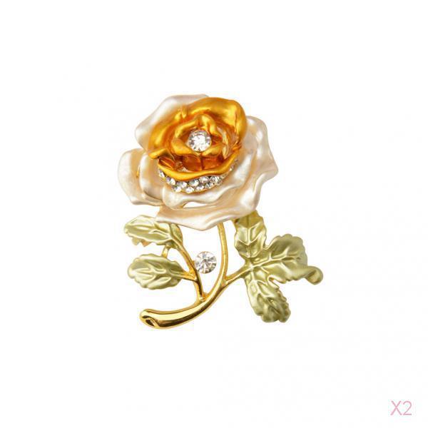 2x Charm Crystal Rose Flower Leaf Brooch pin Jewelry Wedding Bridal Yellow Gift