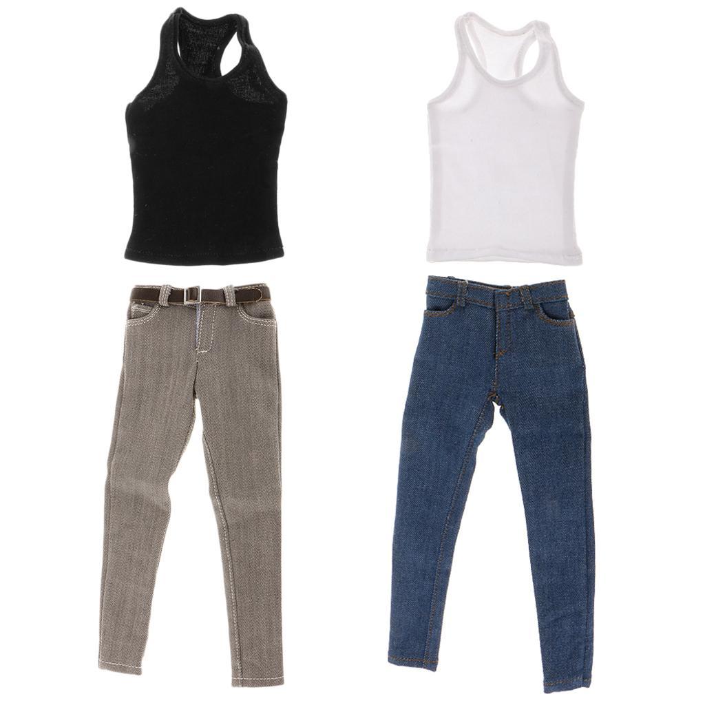 "2 Set 1/6 Scale Men's Vest Jeans Belt OUTFIT fit 12"" Hot Toys ZY Toys Body"