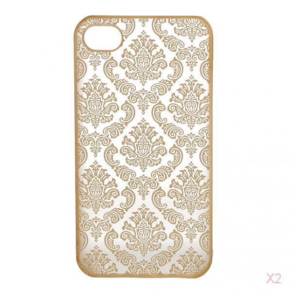 Hard Back Vintage Damask Case Cover for iPhone 4 4s -Golden