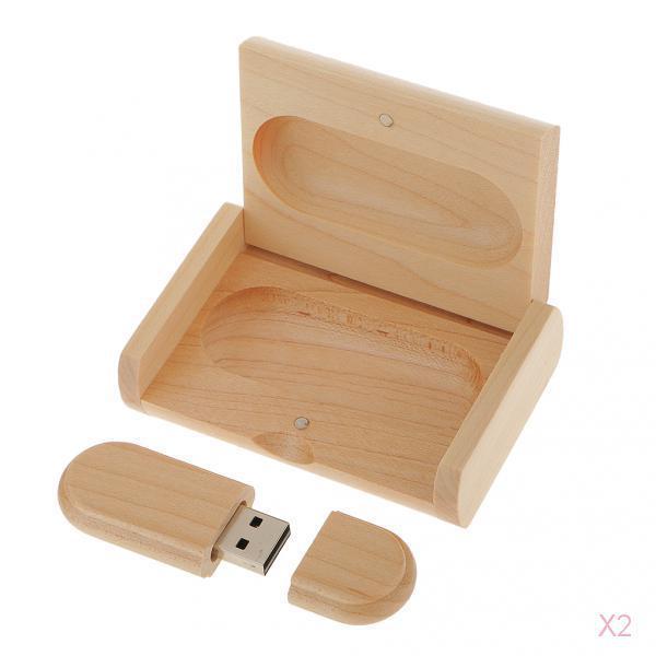 2x 8GB USB2.0 Flash Drive Memory Stick Storage Disk in Maple Wood Box