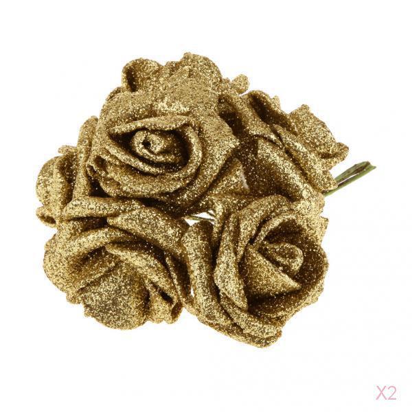 2 Packs of 12pcs Foam Roses Glitter Powder Flower DIY Bouquet Wedding Decor Gold