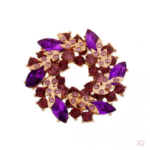 Fashion Redbud Rhinestone/Crystal Brooch Pin Bridal Brooches-Purple