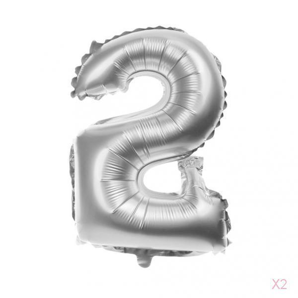 Digital Aluminum Balloons Birthday Party Decoration Foil Balloons Silver#2
