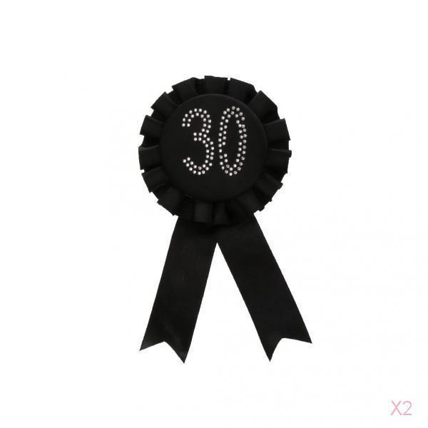 Glitter 30 Award Ribbon Rosette Badge Brooch Birthday Party Favour Black