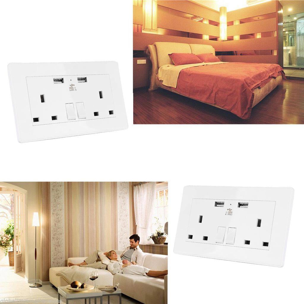 2 Way UK Mains Power Socket USB Charging Ports Connection Wall Plate Plug