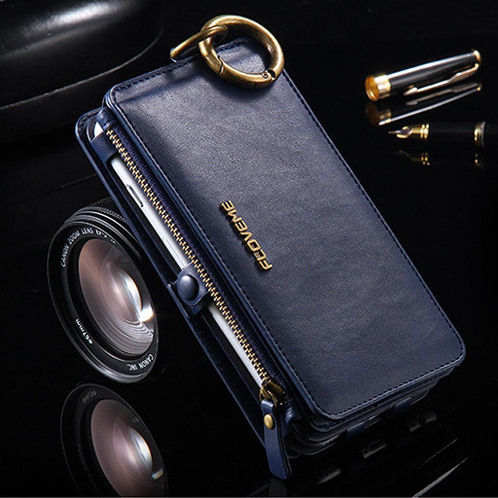 Detachable Wallet Flip Card Case Cover Stand for iPhone 6 plus 6S Plus Blue