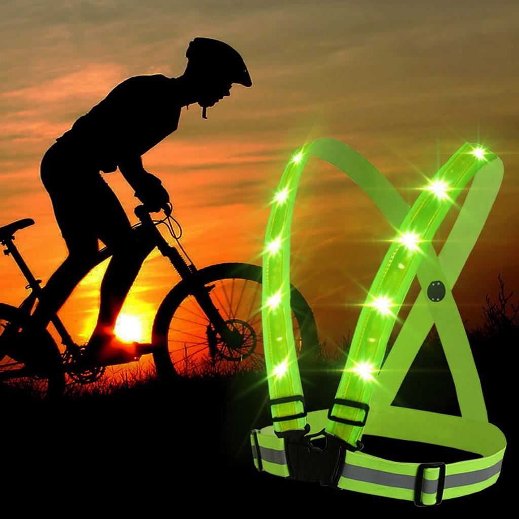 LED USB Safety Reflective Vest Belt Stripe Night Running Biking Outdoor