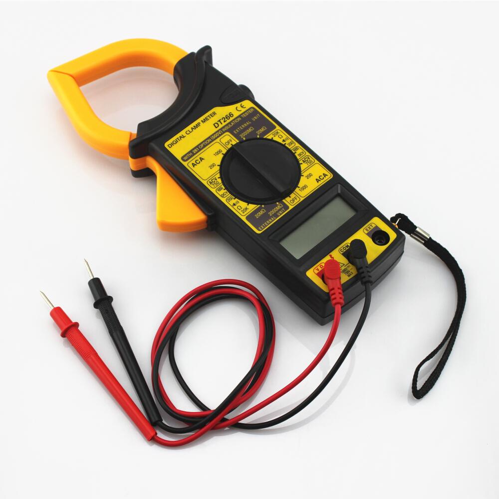 LCD Digital Ammeter Ohmmeter Multimeter Volt AC DC Tester Clamp Meter Yellow