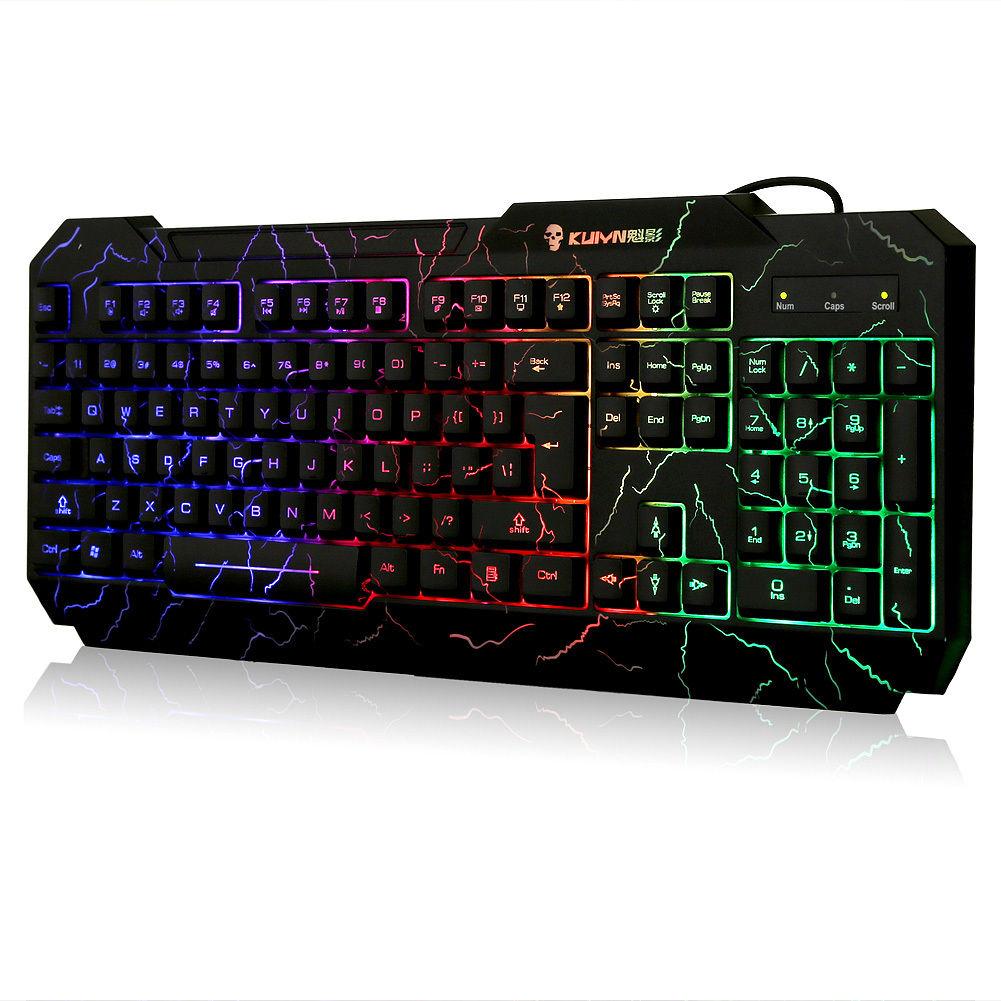 Cooling Crack Rainbow LED Illuminated Backlight USB Wired Gaming Keyboard