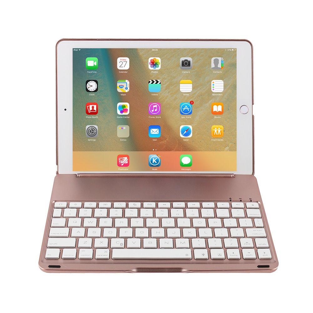 "7 COLORS Backlit Bluetooth Keyboard Smart Folio Case for iPad Pro 9.7"" Rose"