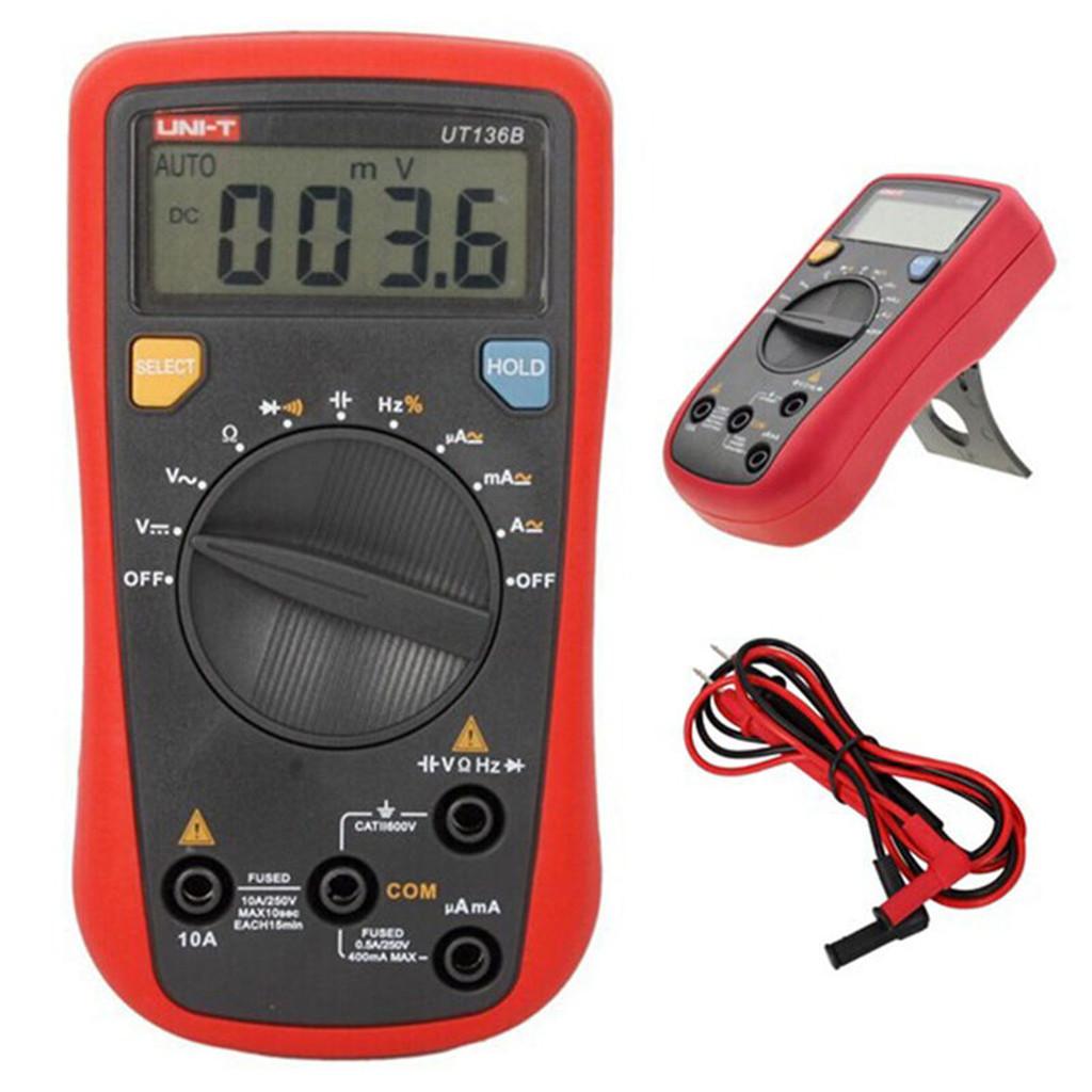 Auto Range Digital Multimeter AC DC Volt Amp Ohm Temp Hz LCD Circuit Tester