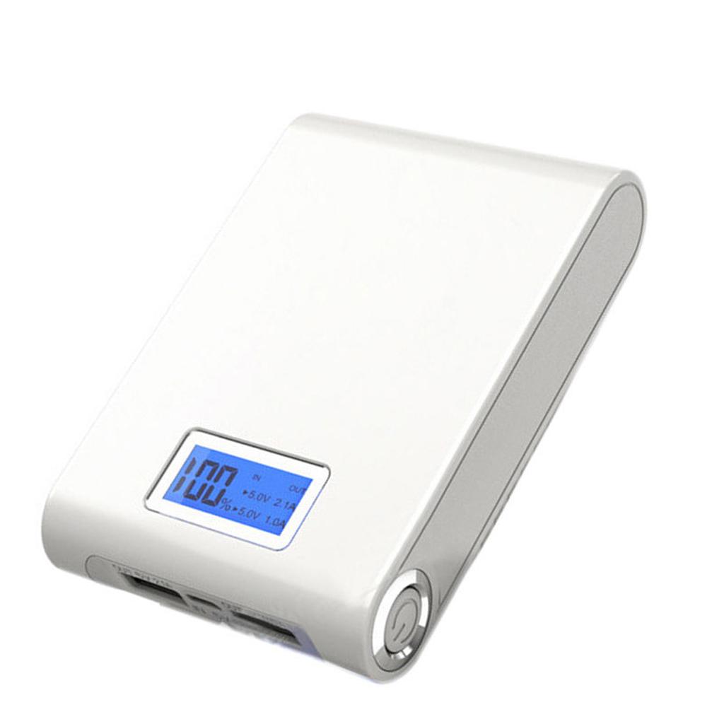 PN913-White-12000mah Power Bank Case Kit 18650 Battery Charger LED Screen