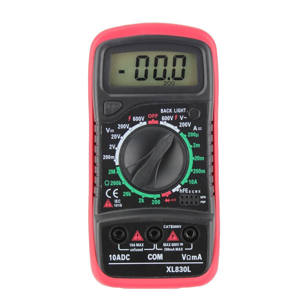 Digital LCD Multimeter Voltmeter Ammeter AC/DC/OHM Current Tester Red