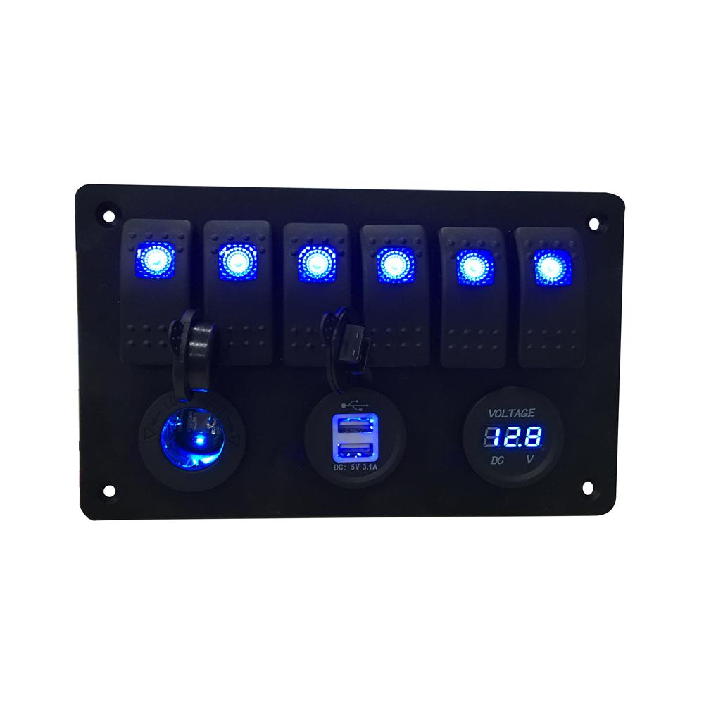 6 Gang LED Car Rocker Switch Panel 2USB Socket Power Plug Charger Voltmeter