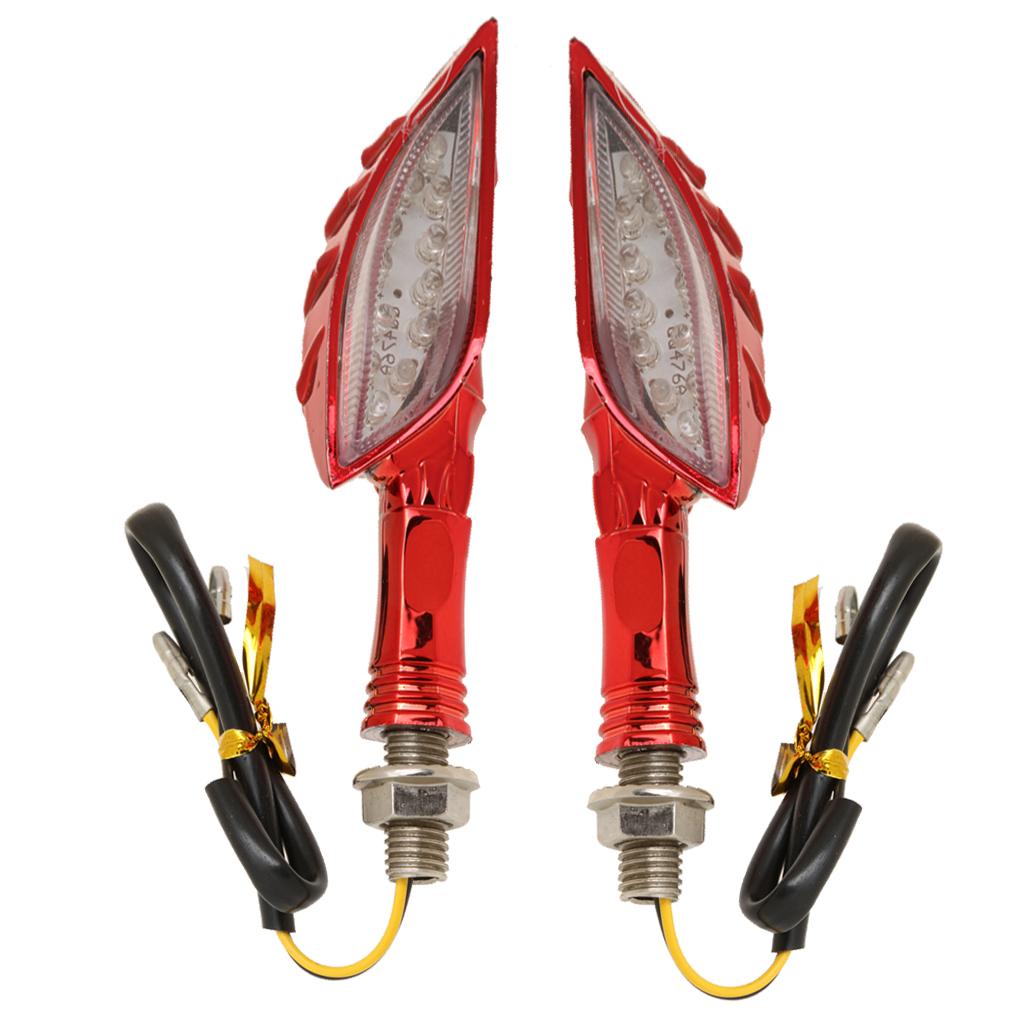 1Pair 12 LED Universal Motorcycle Skull Turn Signal Indicators Light Red