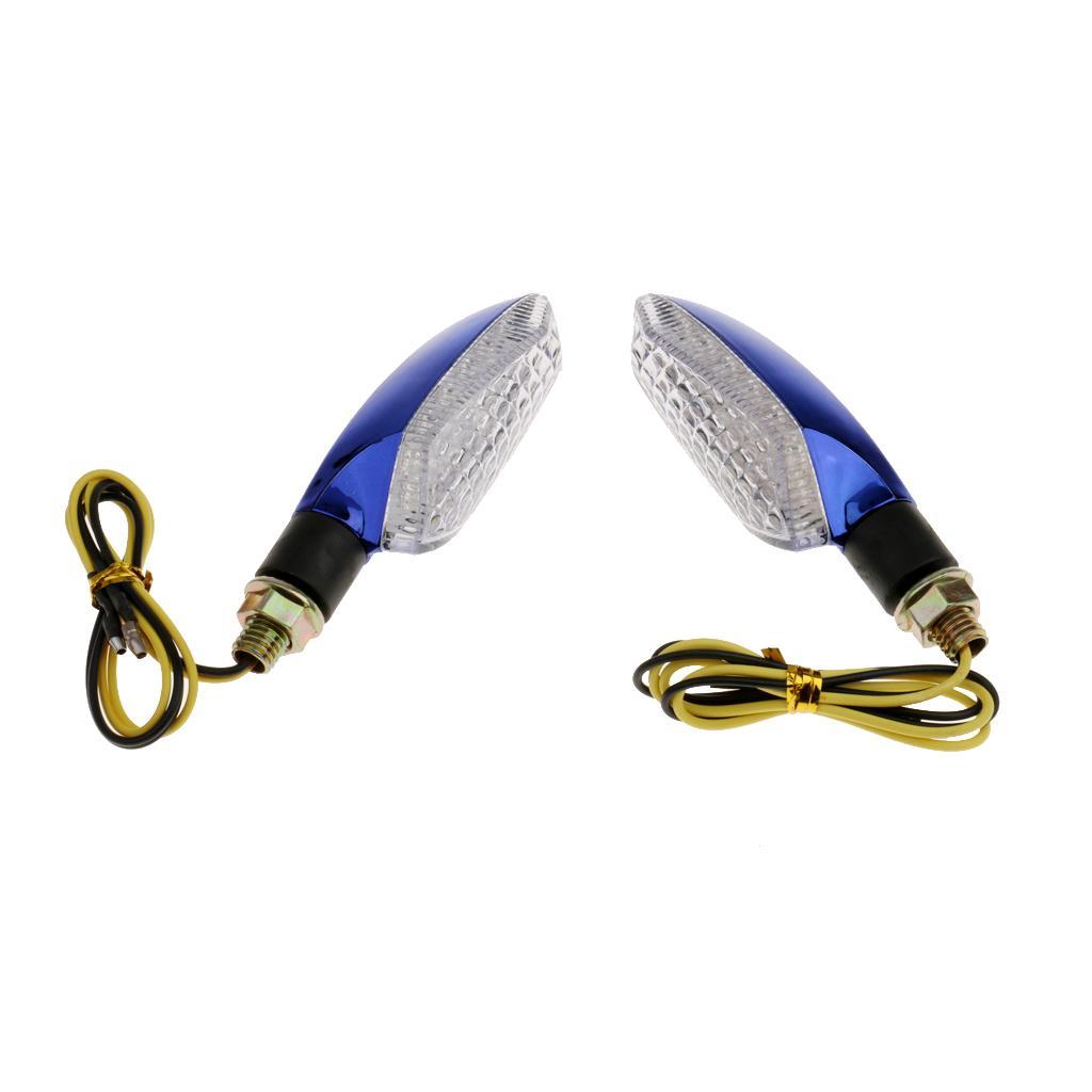 1 Pair Motorcycle LED Turn Signal Light Amber Blinker Indicator Lamp -Blue