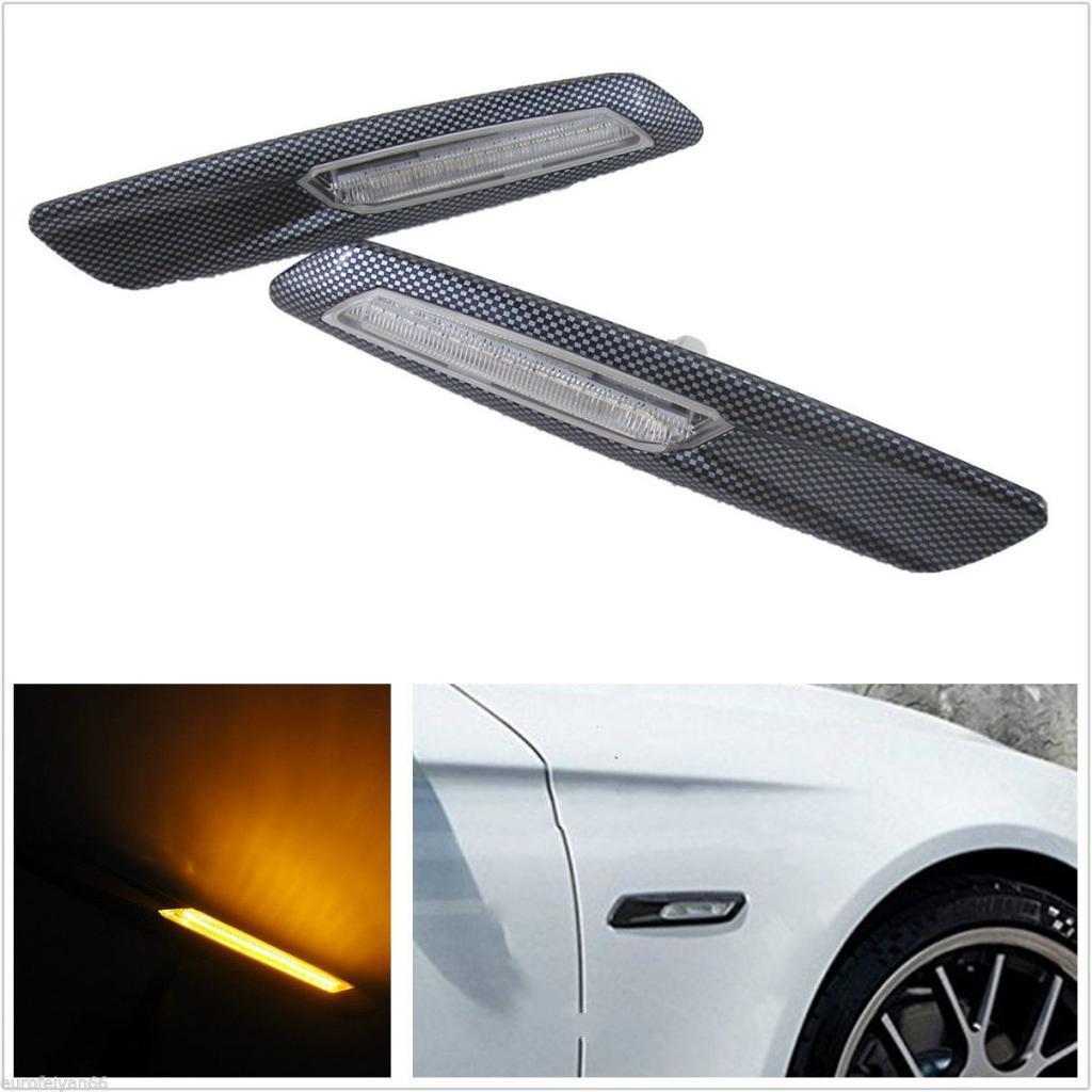 2x Clear LED Carbon Fiber Side Marker Lights Turn Signal for BMW E60 E61