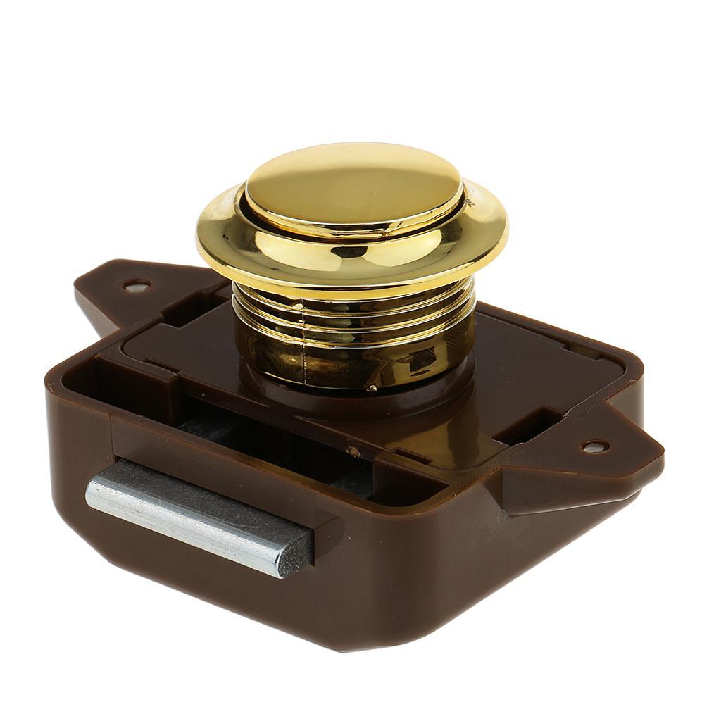Push Button Catch Lock Cupboard Door Knob Campervan Caravan Motorhome Brown