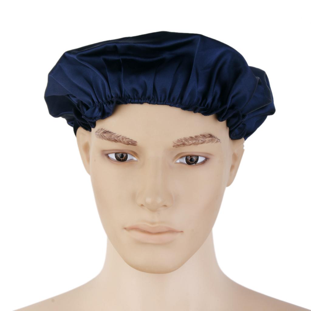 100% Pure Silk Soft Sleep Cap Bonnet Night Hat Hair Care Dark Blue