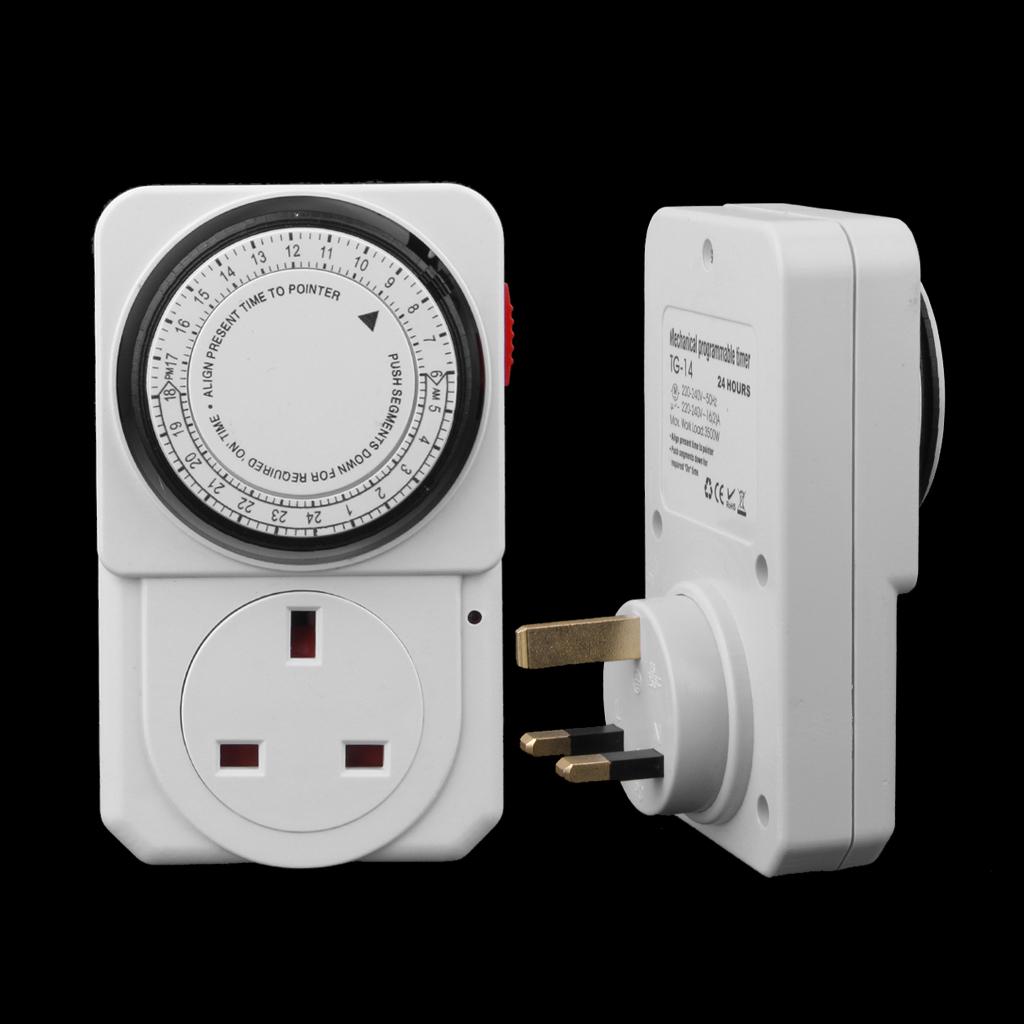 24-Hour Electrical Plug Program Timer Power Switch Energy Saver UK Plug