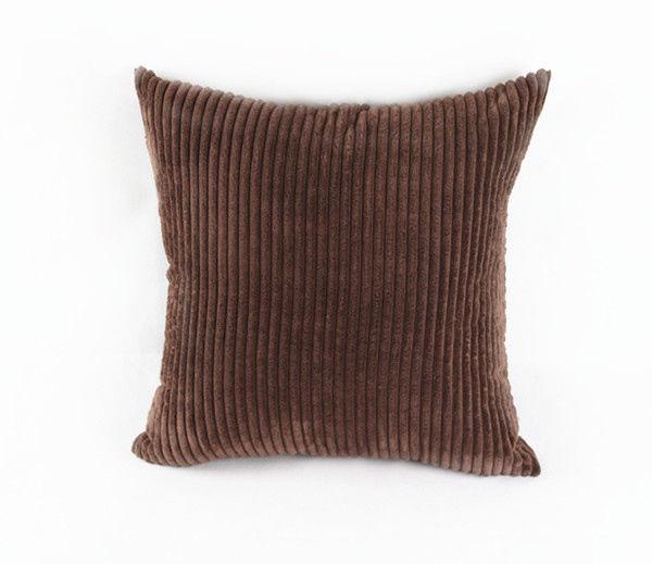 "24x24"" Corduroy Stripe Sofa Bolster Throw Pillow Case Cushion Cover Brown"