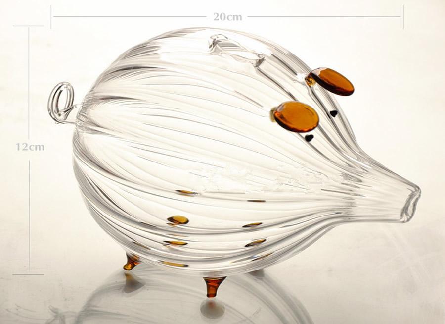 Stripe Piggy Bank Design Glass Money Box Vase Bottle Terrarium Container
