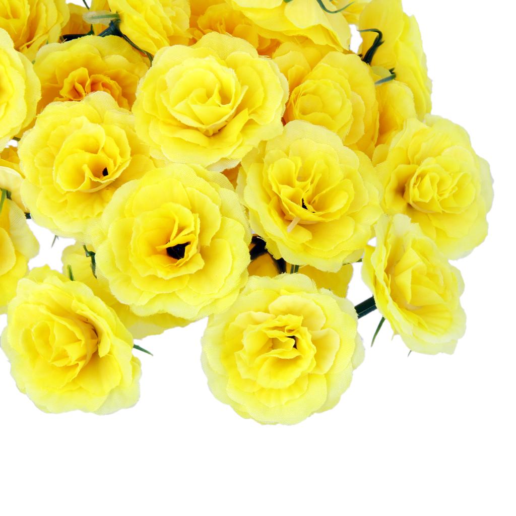 50Pcs Artificial Silk Fake Rose Flower Heads Bulk Wedding Party Decor Yellow