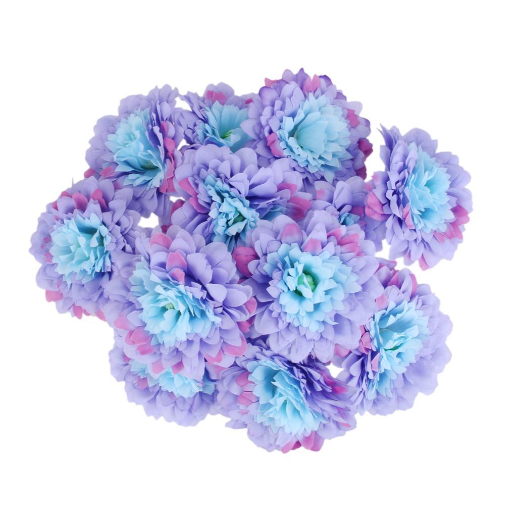 20Pcs Artificial Silk Flower Heads Blossom Mum Home Garden Party Decor Blue