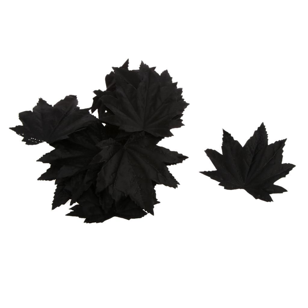 100x Artificial Maple Leaf Silk Autumn Leaves Wedding Garden Decor Black