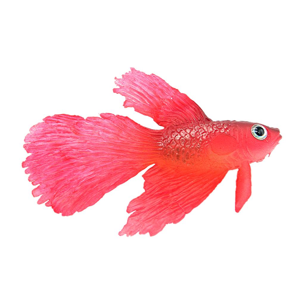 Artificial Silicone Soft Glowing Effect Betta Aquarium Fish Tank Decor Red