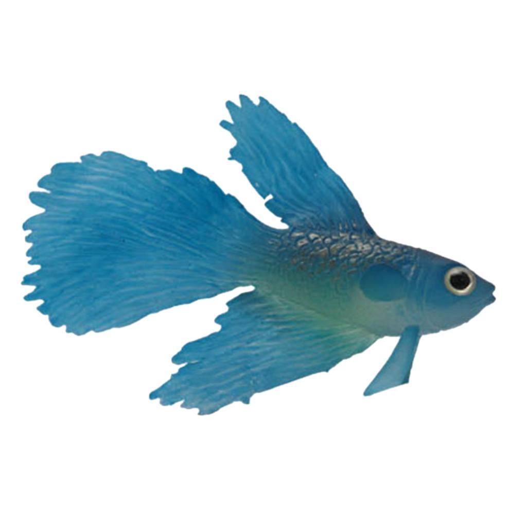 Artificial Silicone Soft Glowing Effect Betta Aquarium Fish Tank Decor Blue