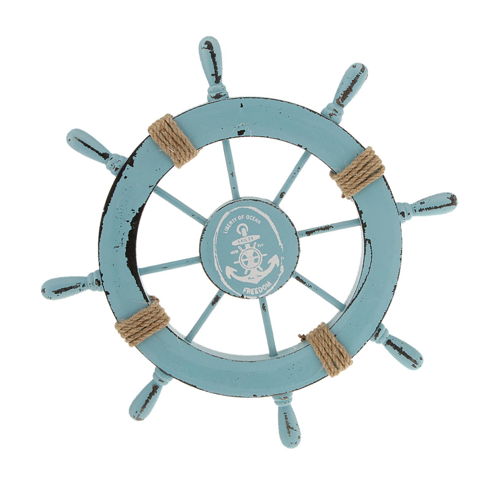 Nautical Beach Wooden Boat Ship Steering Wheel Home Wall Decor Light Blue