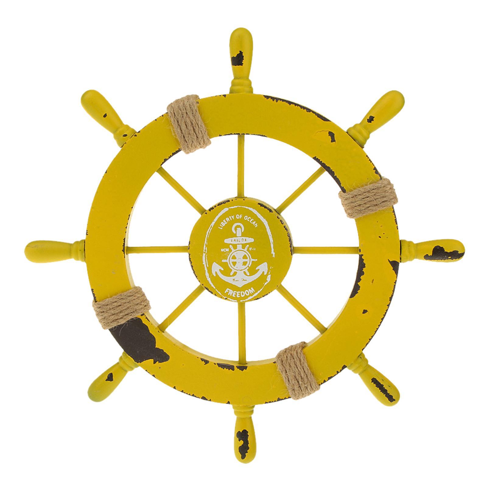 Nautical Beach Wooden Boat Ship Wheel Rudder Home Wall Hanging Decor Yellow