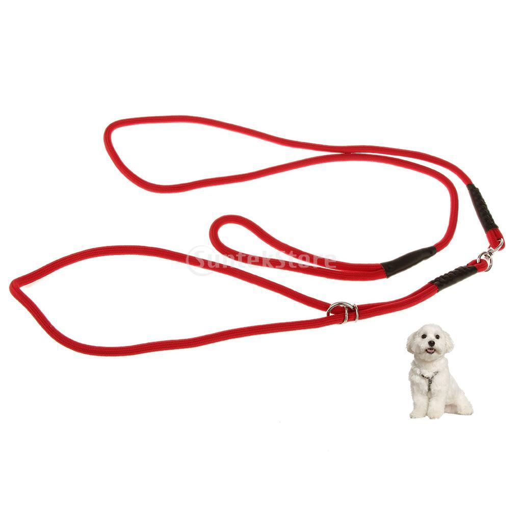 Pet Dog Nylon Rope Slip Training Leash Adjustable Traction Collar Red 1cm