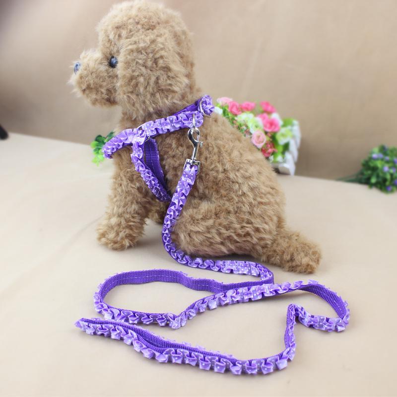 Adjustable Pet Dog Belt Nylon Lead Leash Collar Harness Safety Strap Purple