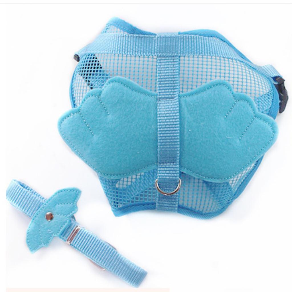 Adjustable Angle Wing Shape Nylon Harness Pet Leash Lead Strap Blue - S