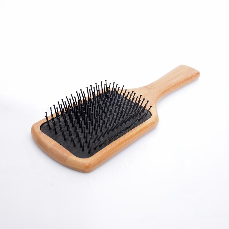 Square Bamboo Handle Nylon Teeth Human Massage Hair Brush Black Cushion Comb