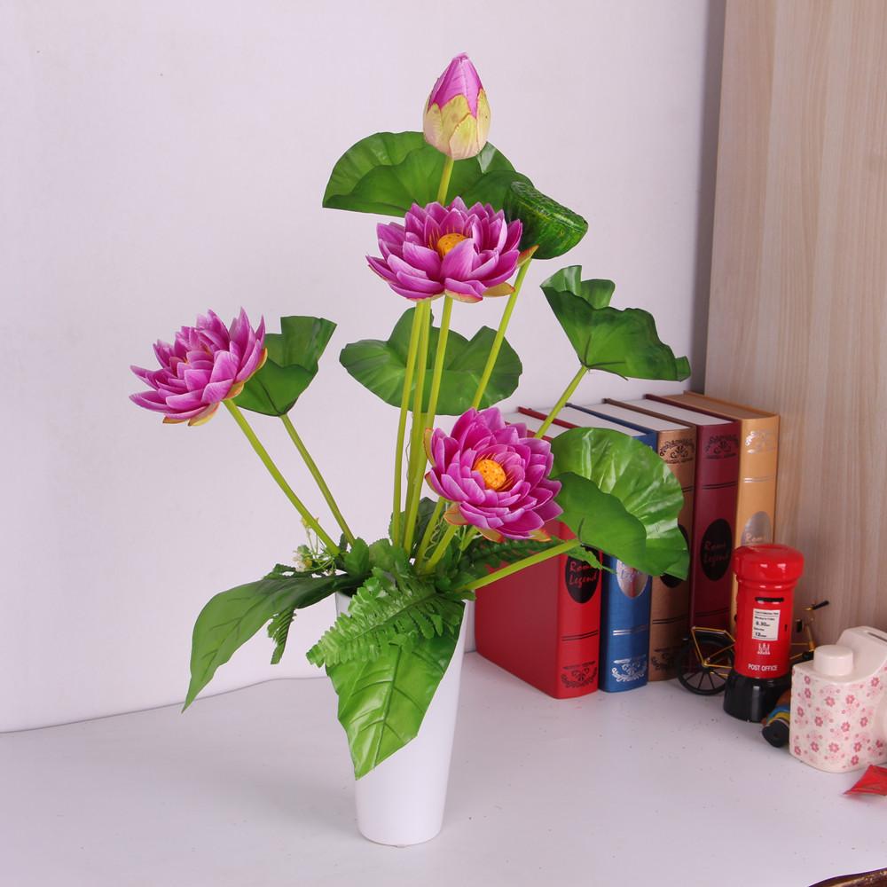 Artificial Flower Silk Lotus Bouquet Home Wedding Party Decor Deep Purple