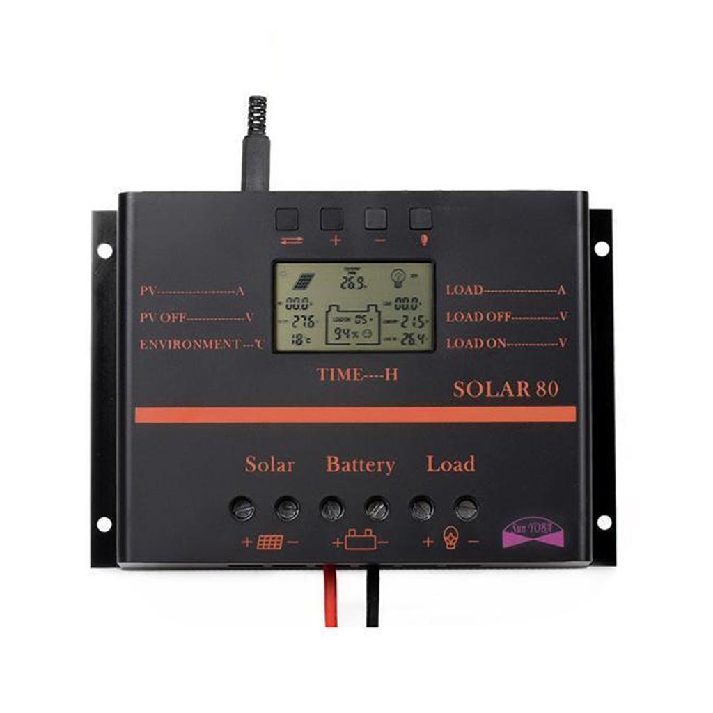 80A 12V/24V LCD Solar Battery Regulator Charge Discharge Controller