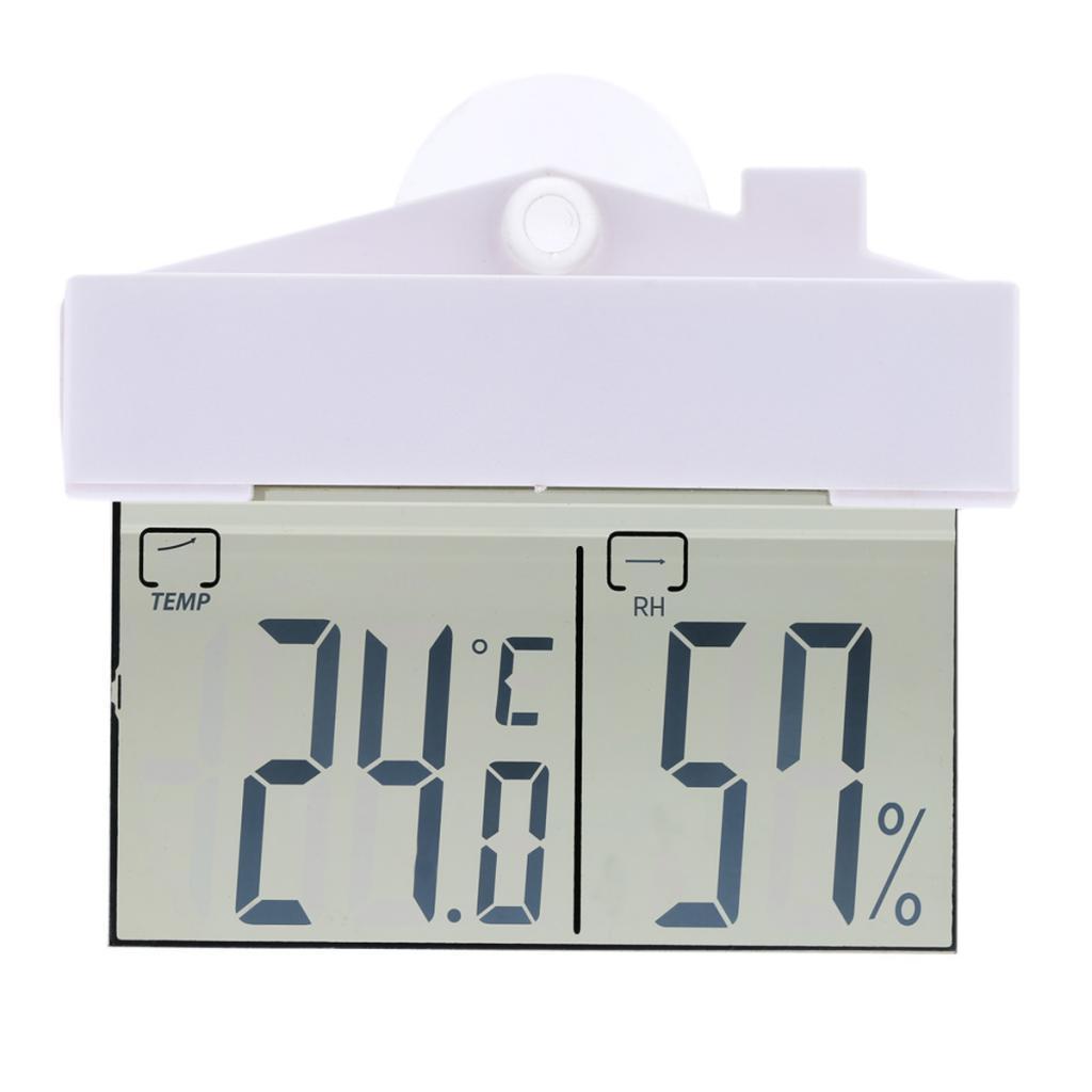 Digital Thermometer Hydrometer Indoor Outdoor Weather Meter Window Sucker
