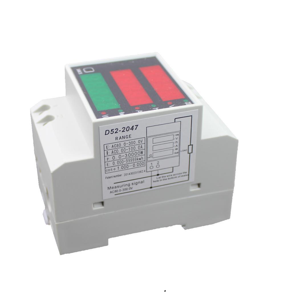 AC80-300V Digital Din Rail Current Voltage Power Meter Ammeter Voltmeter