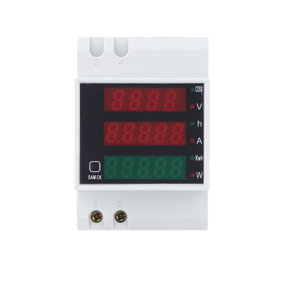 AC200-450V Digital Din Rail Current Voltage Power Meter Ammeter Voltmeter