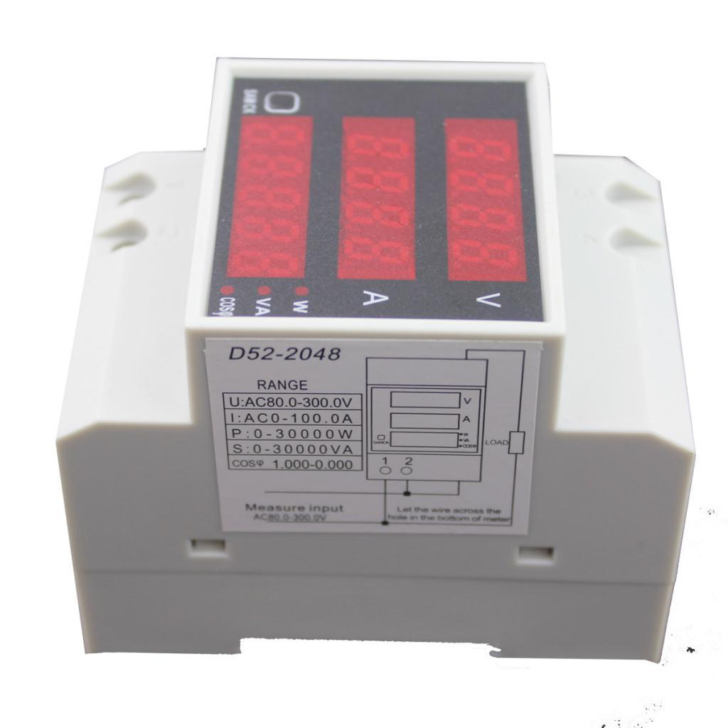 D52-2048 Digital Din Rail Current Voltage Power Meter Ammeter Voltmeter
