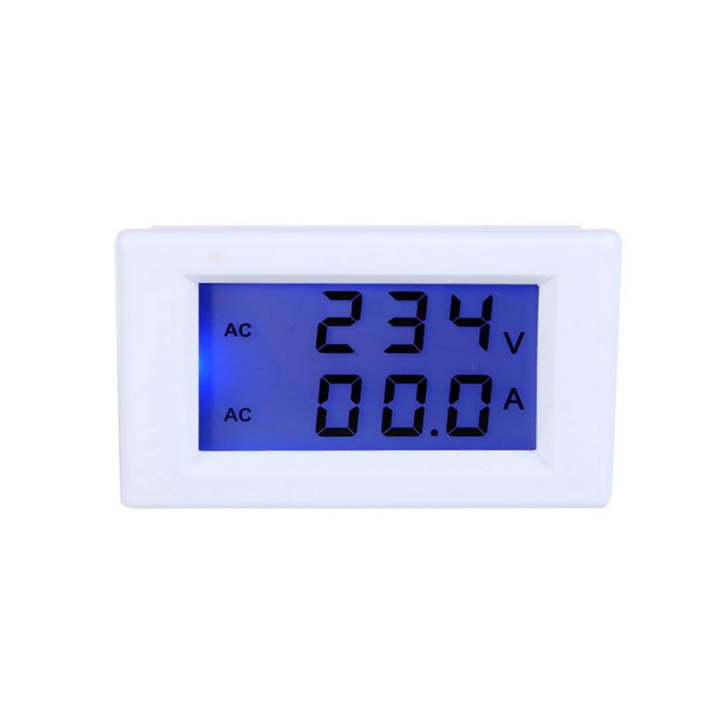 AC 80-300V 0-50.0A Digital LCD Ampere Voltage Meter Ammeter Voltmeter-White