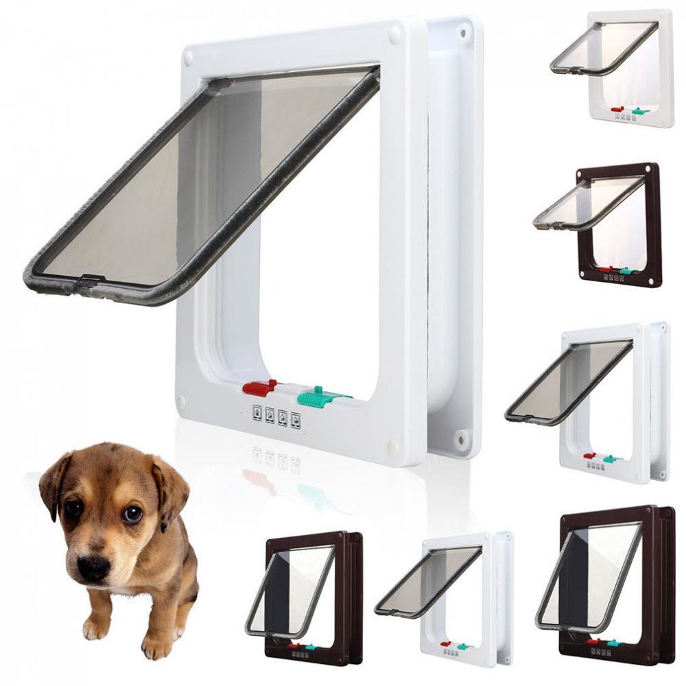 Pet Dog Cat Puppy 4 Way Supplies Lock Lockable Safe Flap Door Gate-Brown S
