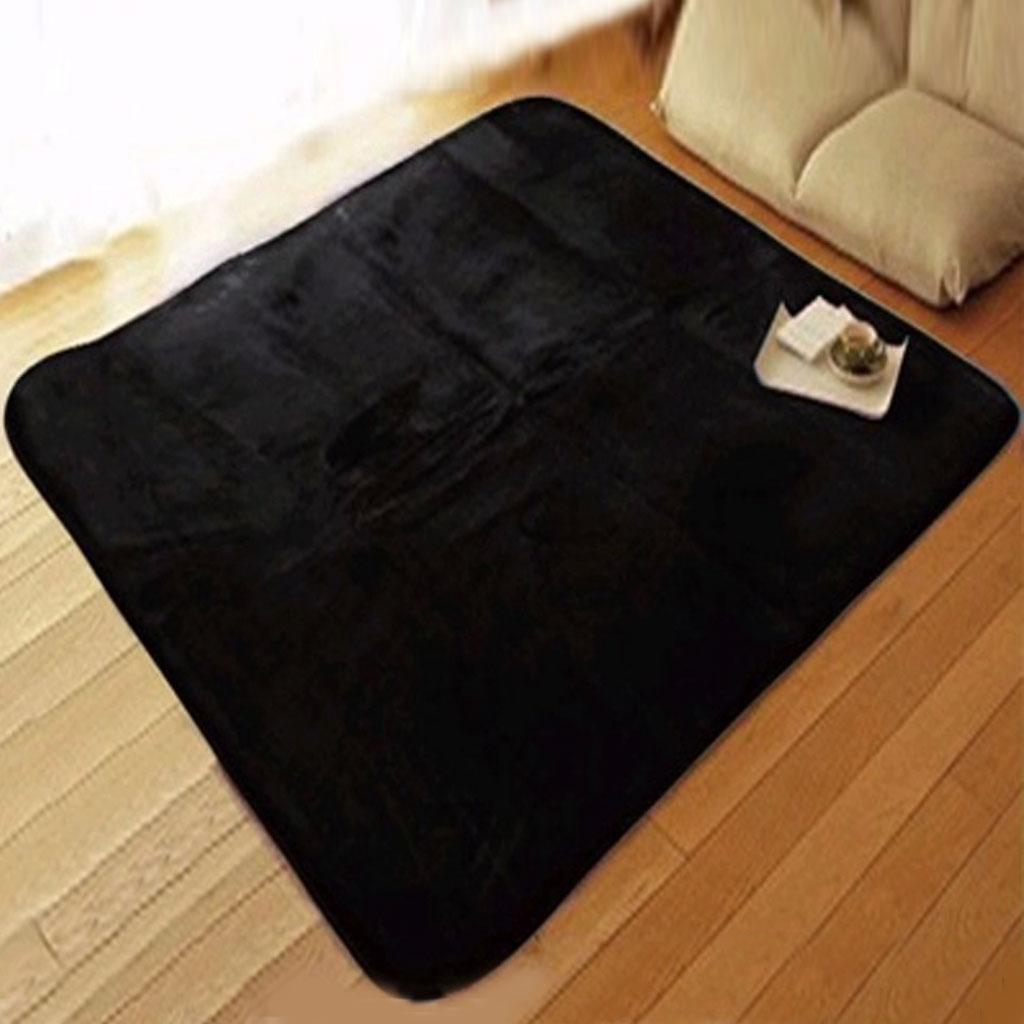 Fluffy Rug Anti-Skid Shaggy Area Rug Home Bedroom Carpet Floor Mat Black