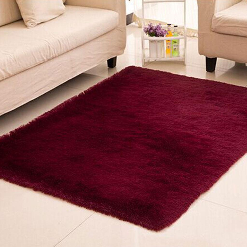 Fluffy Rug Anti-Skid Shaggy Area Rug Bedroom Carpet Floor Mat Grass Green  Burgundy