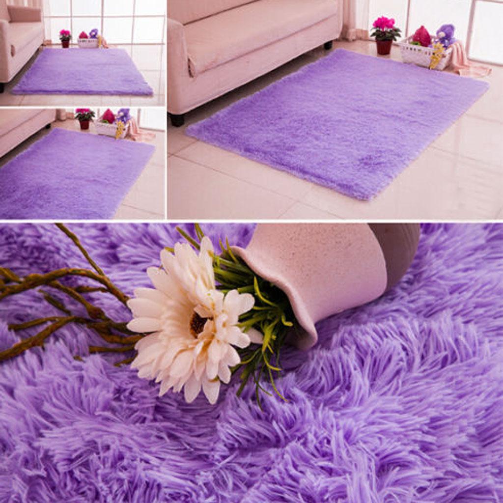 Fluffy Rug Anti-Skid Shaggy Area Rug Bedroom Carpet Floor