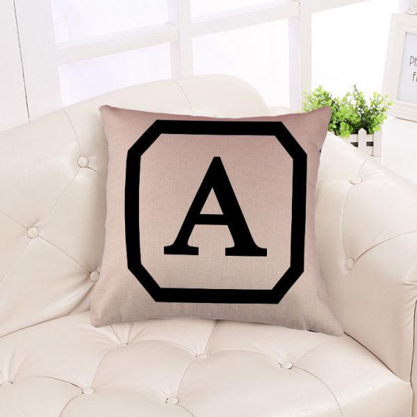 Cotton Linen Throw Pillow Case Cushion Cover Home Decor Initial Letter A