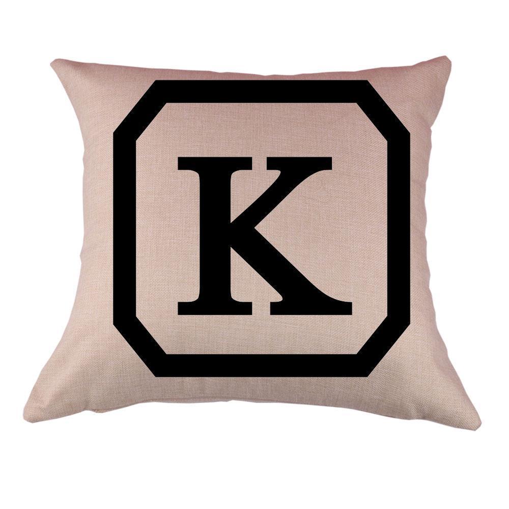 Cotton linen throw pillow case cushion cover home decor for Letter k decoration